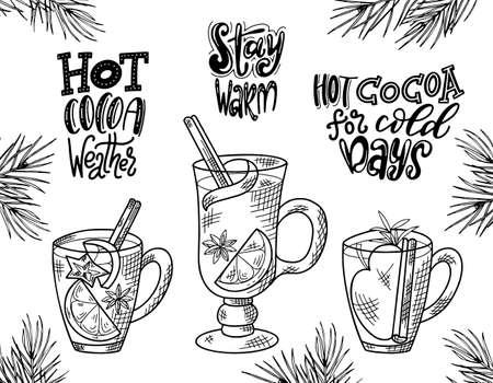 Bevande calde invernali. Set di schizzo disegnato a mano. Può essere utilizzato per menu bar, biglietti, volantini, poster. Iscrizione di Natale. Illustrazione vettoriale