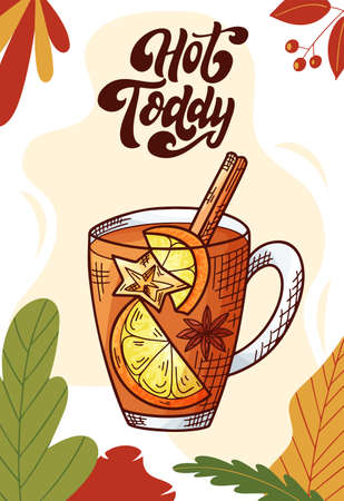 Hot toddy. Winter or autumn drink for your design. Hand drawn sketch for christmas template. Vector illustration Standard-Bild - 134138506