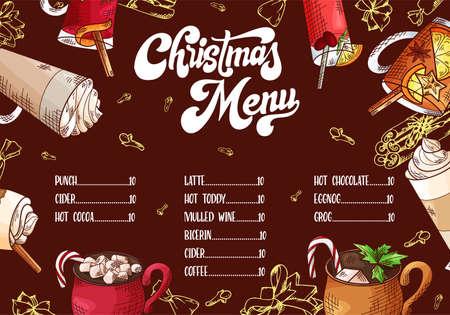 Hand drawn hot drinks. Menu Christmas design. Template with brushlettering. Winter sketch style. Vector illustration Ilustración de vector