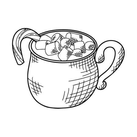Winter or autumn drink for your design. Hand drawn sketch for christmas template. Vector illustration Vectores