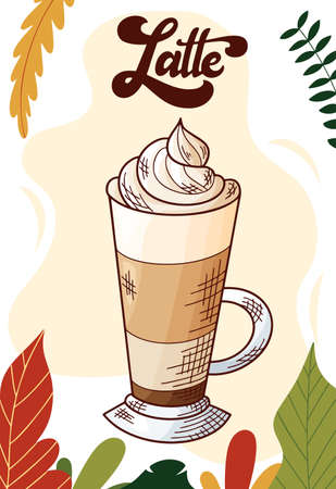 Latte. Winter or autumn drink for your design. Hand drawn sketch for christmas template. Vector illustration Standard-Bild - 134138514
