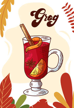 Grog. Winter or autumn drink for your design. Hand drawn sketch for christmas template. Vector illustration Standard-Bild - 134138515