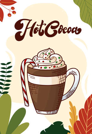 Hot cocoa. Winter or autumn drink for your design. Hand drawn sketch for christmas template. Vector illustration Standard-Bild - 134138516