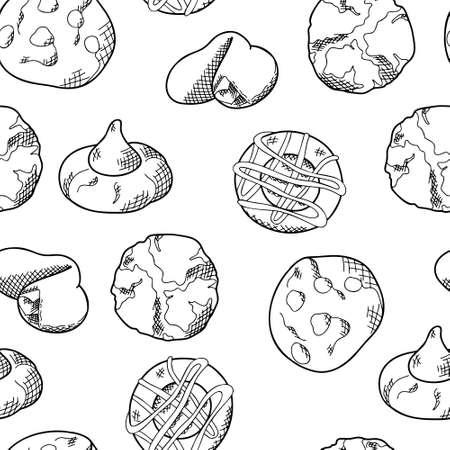 Cookie nahtlose Muster im handgezeichneten Stil. Backwaren für Ihren Hintergrund. Lebensmittel-Vektor-Illustration Vektorgrafik
