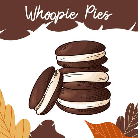 Hand drawn cookie in color on white background. Whoopie pies. Delicious food design. Vector illustration