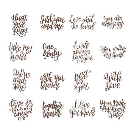Set di citazioni d'amore disegnate a mano. Scritte sull'amore per poster, biglietti di auguri, striscioni. Illustrazione vettoriale di calligrafia.