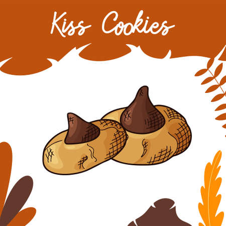 Hand drawn cookie in color on white background. Delicious food design. Vector illustration.
