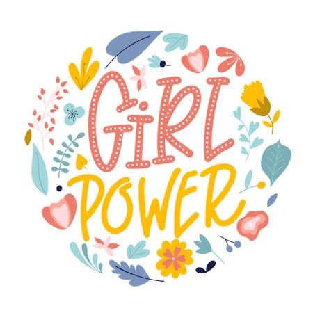 Girl power. Hand drawn feminism quote. Motivation woman slogan in lettering style. Vector illustration Standard-Bild - 138089406