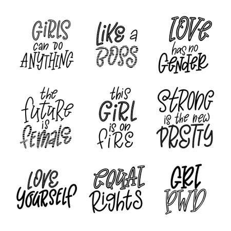 Set of Inspirational girl power quotes. Hand drawn lettering for poster or card. Feminism woman motivational slogans. Vector illustration 일러스트