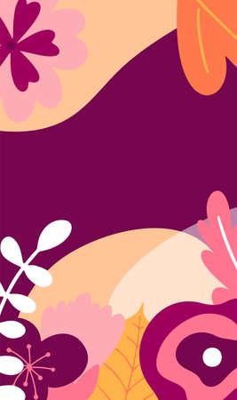 Template for social media stories. Landscape with flower elements. Design vector illustration. Standard-Bild - 139839752