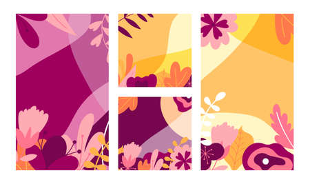 Template for social media stories. Landscape with flower elements. Design vector illustration. Standard-Bild - 139839813