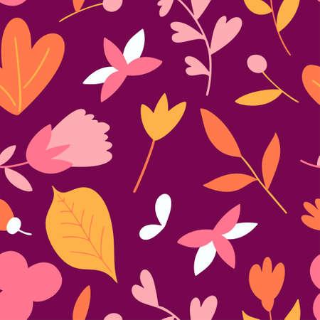 Flat flower seamless pattern. Minimal floral template. Colorful vector illustration Standard-Bild - 140089187