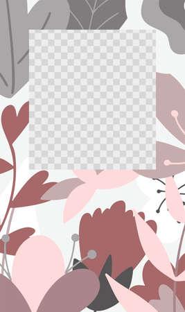 Template for social media stories. Landscape with flower elements. Design vector illustration. Standard-Bild - 139840222