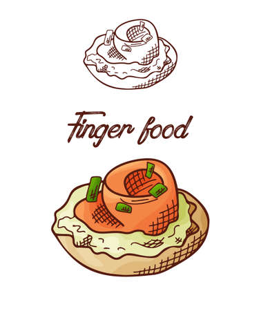 Hand drawn finger food element. Appetizers served in sketch style. Bruchetta in isolated white background. Vector illustration. Standard-Bild - 139848390