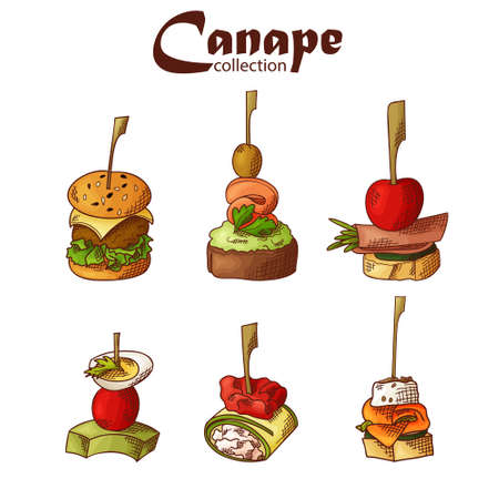 Set of finger food elements. Canape and appetizes served on sticks in sketch style. Catering service template. Vector illustration.