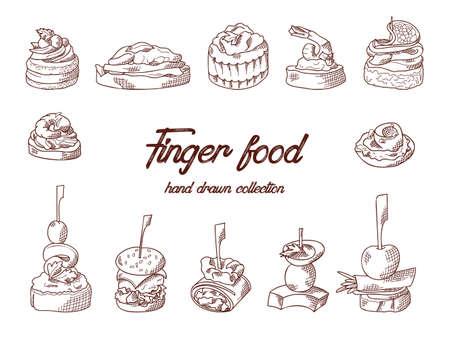 Conjunto de elementos de comida para picar. Canapés y aperitivos servidos en palitos en estilo boceto. Plantilla de servicio de catering. Ilustración de vector.