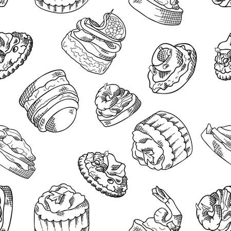 Seamless pattern with finger food. Sketch style repeated background. Bruschetta, sandwich, canapes and tapas. Vector illustration