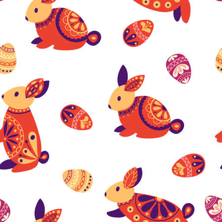 Easter seamless pattern. Holiday background with rabbit, eggs. Vector illustration Vektorové ilustrace