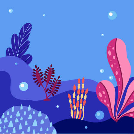 Abstract sea underwater background with copy space for text. Merine ocean life. Vector illustration of undersea life