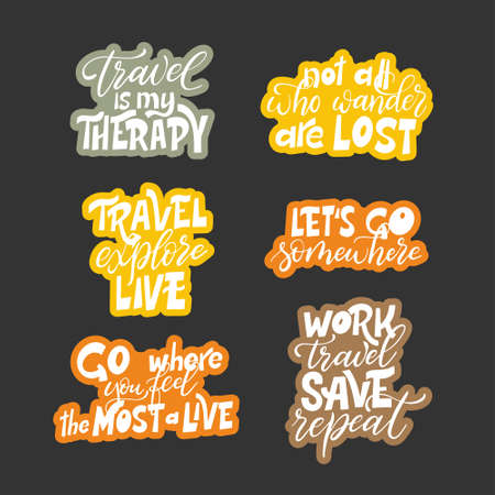 Set of motivational typography posters. Travel quote design. Written slogan adventure lettering. Vector illustration. Vektoros illusztráció