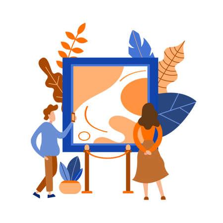 Creative art gallery. Museum exhibition with people. Poster cartoon concept. Showroom artwork design. Flat vector illustration