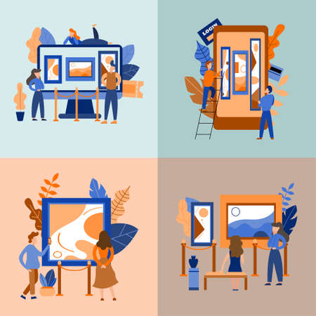 Set of concepts. Mobile museum guide application. Interactive exhibition. Virtual art gallery tours. Vector flat illustration