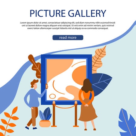 Museum exposition. Art gallery with modern artwork. Trendy flat banner, poster. Vector illustration Illusztráció