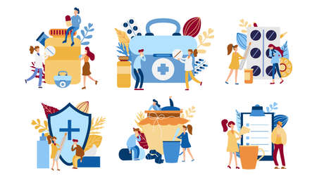 Set of Concepts with sick person. Flu flat tiny people concept. Protect from viruses. Pharmacy therapy and tissue help. Vector illustration