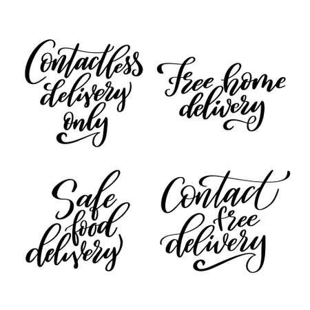 Set of Contactless delivery lettering quote in script style. Hand drawn lettering for poster or banner isolated on white background. Vector illustration