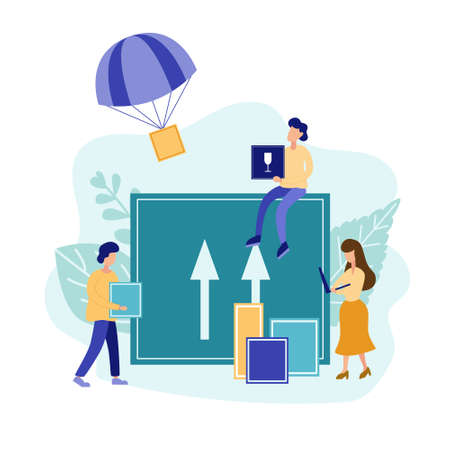 Contactless delivery concept in flat style. Package is flying on parachute. Online ordering during a quarantine. Vector illustration. Illusztráció