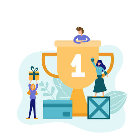 The best in the first place in the field of delivery. Girl holds a gift box next to a golden cup. Fast parcel delivery service. Flat vector illustration. Illusztráció
