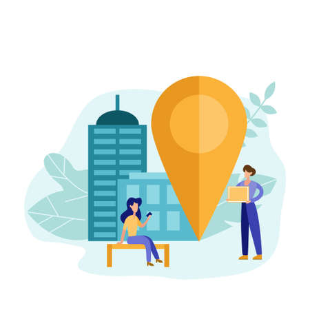 We have moved concept with girl find the address in flat style. Geolocation point marker for navigation system. Transportation vector illustrator.