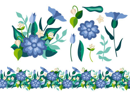 Set of wild decorativel floral elements with bouquet and seamless border in flat style. Herbaceous flowering plants isolated on white background. Botanical vector illustration 일러스트