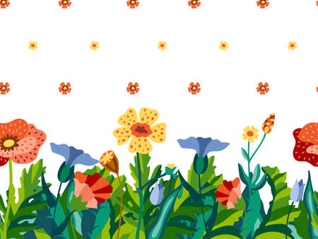 Pattern border with wild flowers isolated on white background in decorative flat style. Floral design for print on dress or t-shirt. Botanical vector illustration.