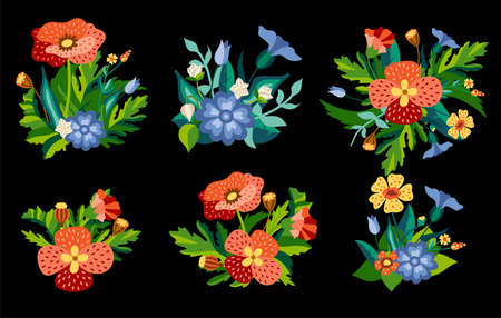 Set of Wild floral bouquets of poppies and cornflowers with green leaves in decorative flat style. Botanical natural herbs isolated on white background. Vector illustration. Illusztráció