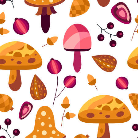 Nature seamless pattern with autumn flowers and leaves in orange and pink colors. Decorative elements in flat style for wallpaper, cards, textile and etc. Vector illustration Illusztráció