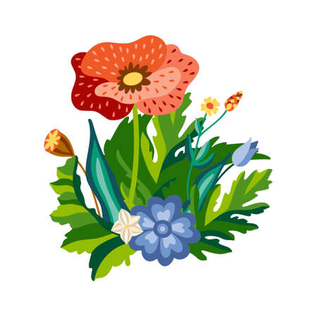 Wild floral bouquet of poppies and cornflowers with green leaves in decorative flat style. Botanical natural herbs isolated on white background. Vector illustration. Illusztráció