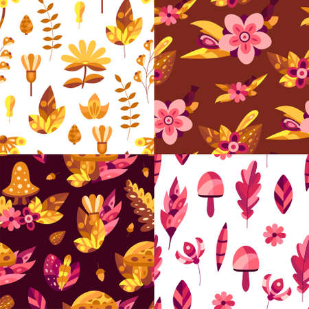 Set of Nature seamless patterns with autumn flowers and leaves in orange and pink colors. Decorative elements in flat style for wallpaper, cards, textile and etc. Vector illustration