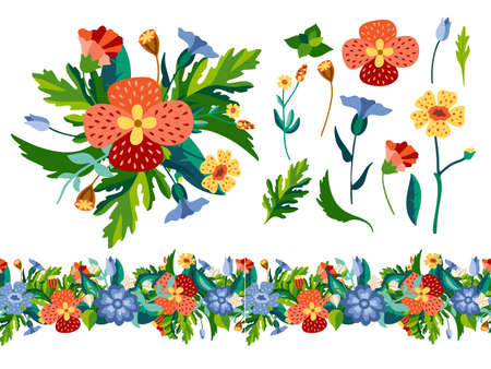 Set of wild decorativel floral elements with bouquet and seamless border in flat style. Herbaceous flowering plants isolated on white background. Botanical vector illustration