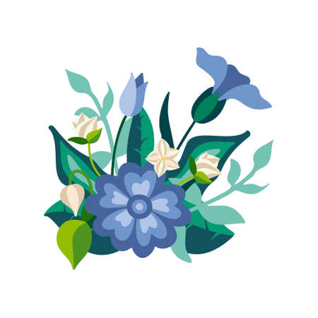 Wild floral bouquet of poppies and cornflowers with green leaves in decorative flat style. Botanical natural herbs isolated on white background. Vector illustration