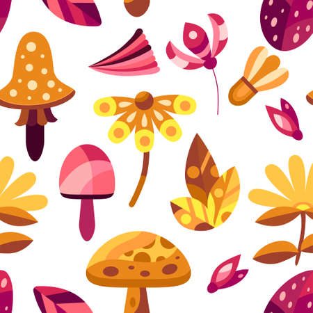 Autumn seamless pattern with flowers, mushrooms and leaves in decorative flat style. Background for textile, wallpapers, gift paper. Vector season illustration on white Illusztráció