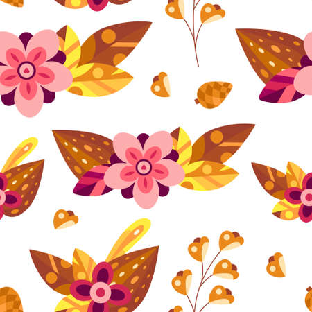 Autumn seamless pattern with flowers and leaves in decorative flat style. Background for textile, wallpapers, gift paper. Vector season illustration on white Illusztráció