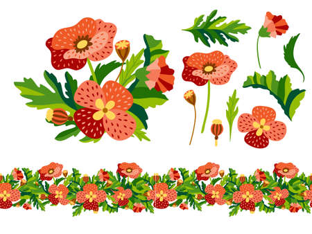 Set of wild decorativel floral elements with bouquet and seamless border in flat style. Herbaceous flowering plants isolated on white background. Botanical vector illustration Illusztráció