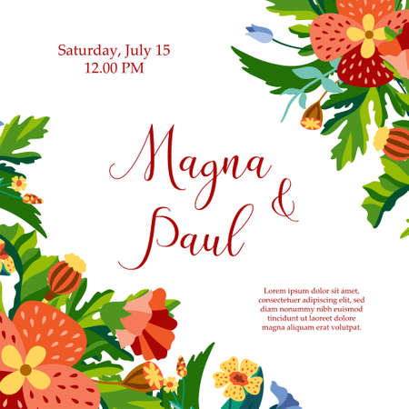 Invitation card with wild flowers and leaves for wedding or other holiday in decorative flat style. Greeting poster, invite with poppies. Vector illustration Illusztráció