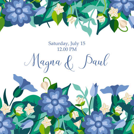 Invitation card with wild flowers and leaves for wedding or other holiday in decorative flat style. Greeting poster, invite with cornflowers. Vector illustration