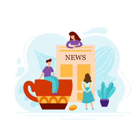 Flat concept of people reading newspaper with world news with cup of coffee. Abstract text with tiny charecters isolated on white background for poster or card. Vector illustration