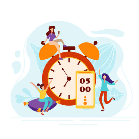 Daily morning man rise under the alarm clock on the phone. Charging on the pillow and cheerful mood characters in flat style. Vector illustration