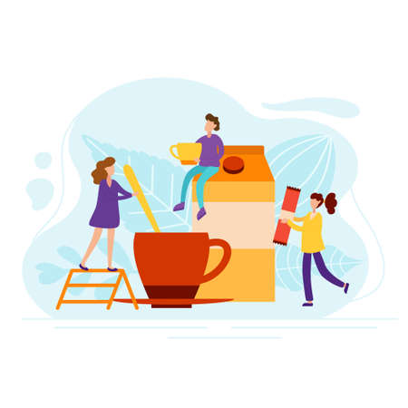 Morning coffee with tiny people in flat style. Characters make tea with milk for a cheerful mood. Wake up concept vector illustration