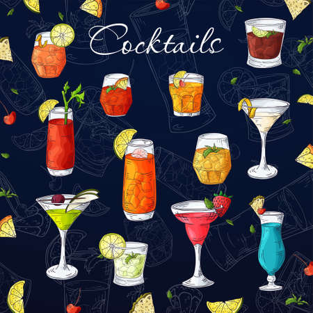 Cocktail drinks set in different glass in hand drawn sketch style. Alcoholic drinks in glasses in vintage drawing vector illustration