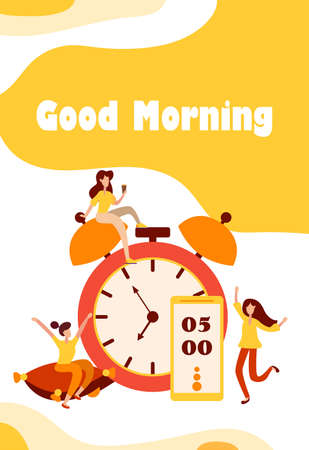 Morning wake up alarm and happy, people characters rejoice at the beginning of a new day. Charging on the pillow and cheerful mood characters in flat style. Vector illustration